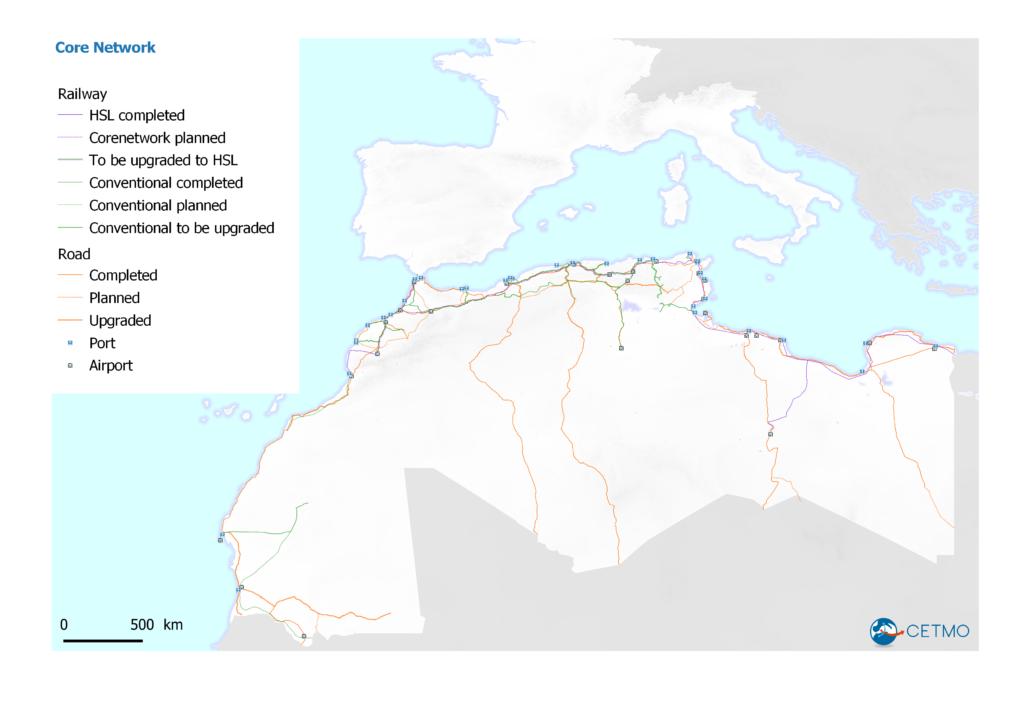 Core network in Western Mediterranean