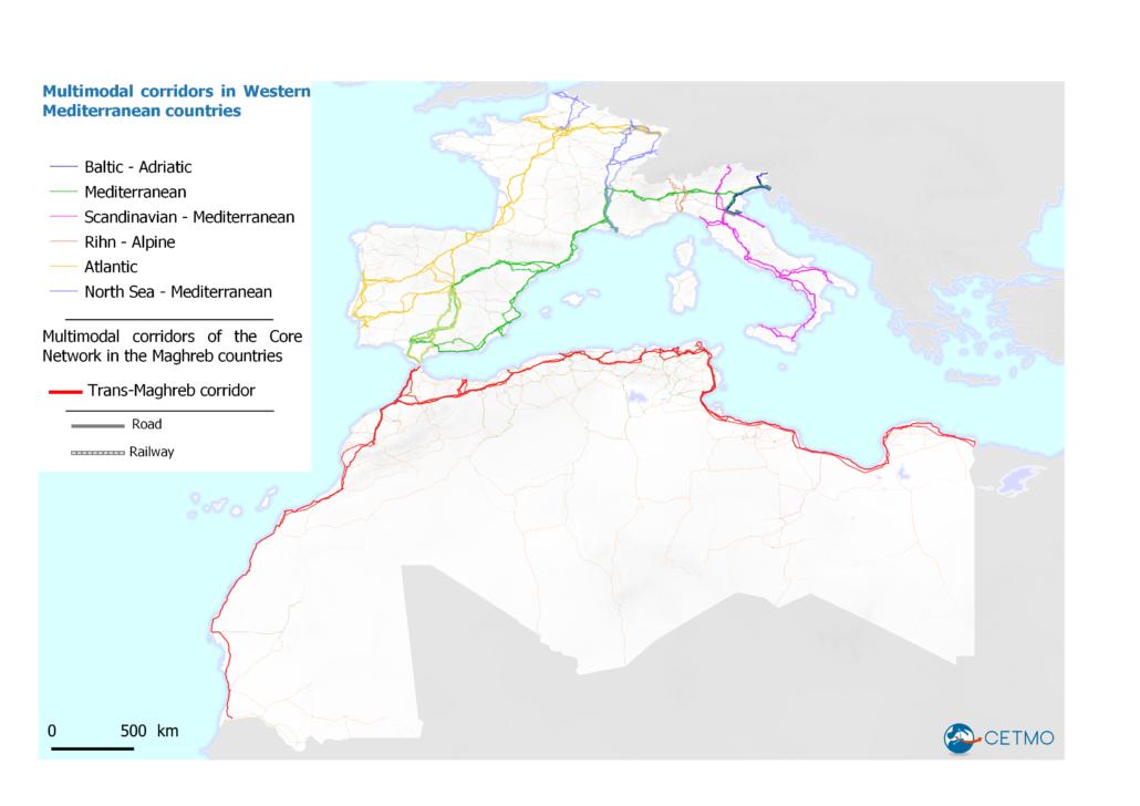 Multimodal corridors in Western Mediterranean